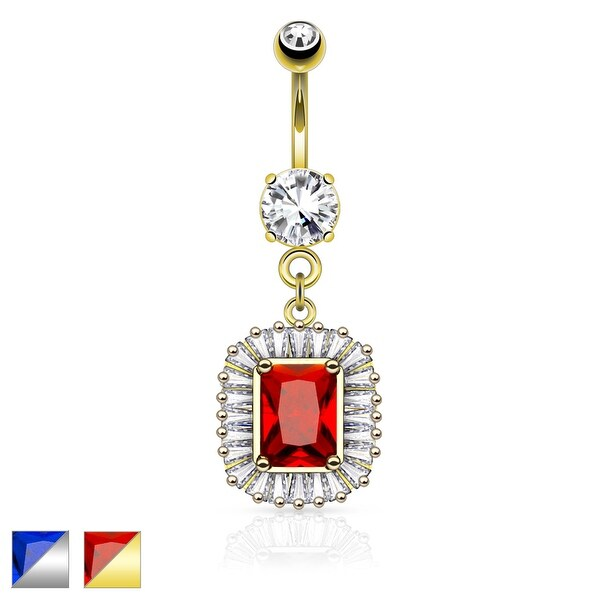 Square CZ Center with Princess Cut CZ Around Surgical Steel Belly Button Ring - 14GA (Sold Ind.)