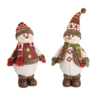 """Pack of 4 Red and White Snowman Christmas Floor Decorations 25.25"""""""
