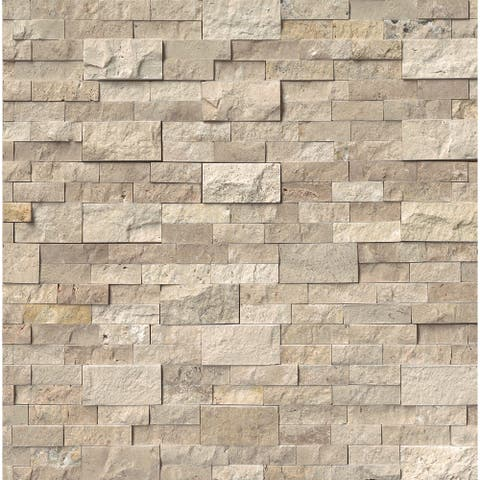 "MSI LPNLTROMBEI624 24"" x 6"" Rectangle Wall Tile - Textured Travertine - SplitFace"