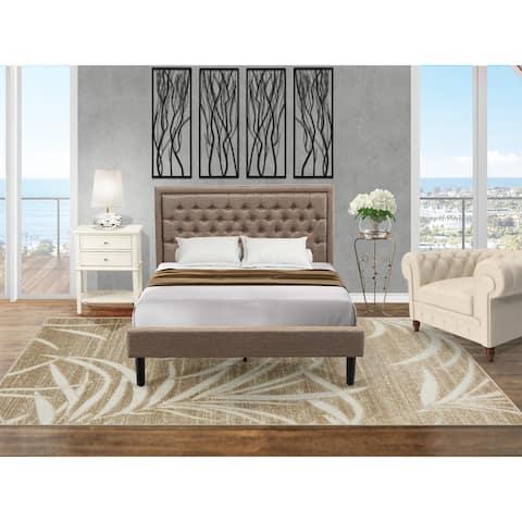 East West Furniture Queen Bedroom Set - Queen Bed Dark Khaki Headboard with Night Stand - (Piece Option)
