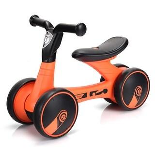 Gymax 4 Wheels Kids Balance Bike Children Walker Toddler Toys Rides No-Pedal Bicycle - black + orange