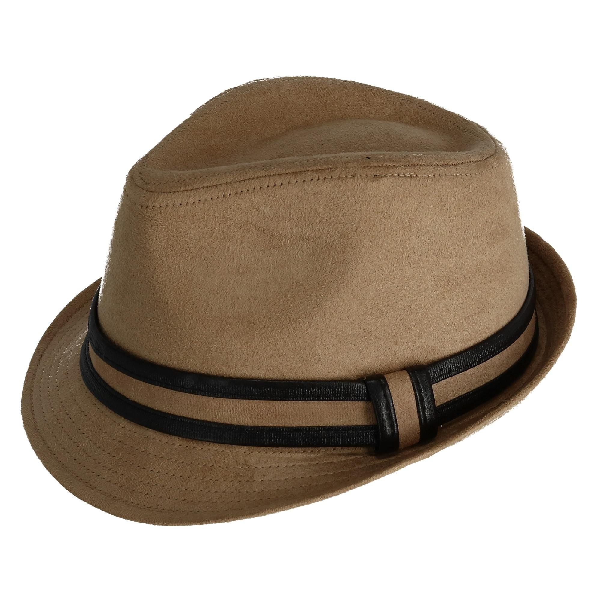 CTM Mens Suede Fedora Hat with Leather Trim