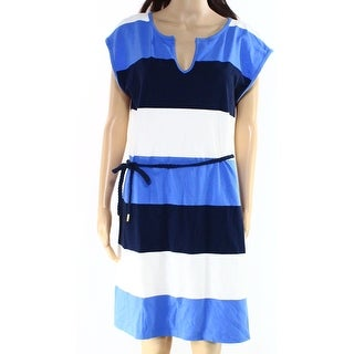 Tommy Hilfiger NEW Blue Womens Size Large L Belted Stripe Shirt Dress