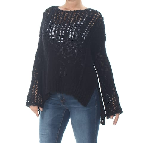 ARIZONA Womens Black Eyelet Long Sleeve Jewel Neck Sweater Size XS