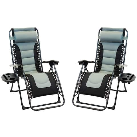 2pc Padded Zero Gravity Chair Set with Leg Stabilizers and Big Cupholder - Grey