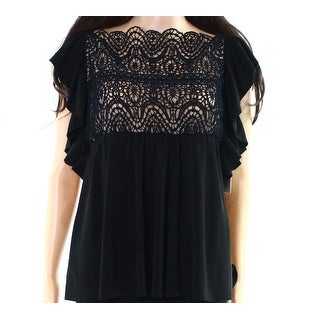 Red Valentino NEW Black Womens Size Large L Ruffled Lace Blouse