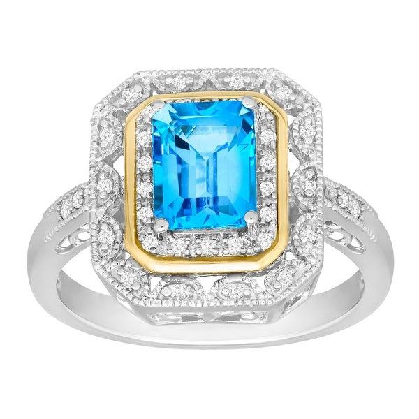 2 ct Natural Swiss Blue Topaz & 1/8 ct Diamond Ring in Sterling Silver and 14K Gold
