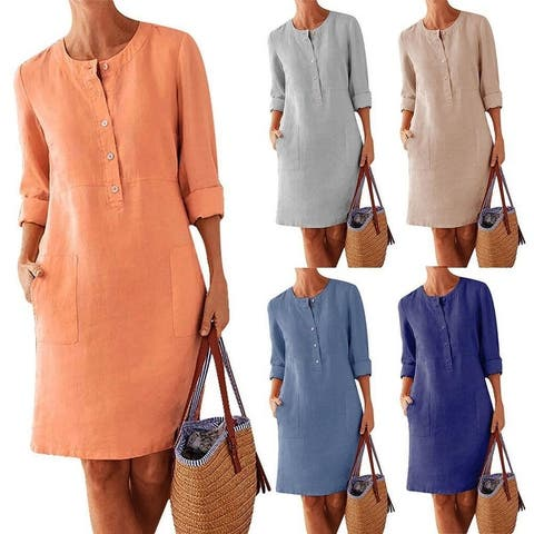 Autumn Solid Button O-Neck Pocket Long Sleeve Knee Cotton Linen A-Line Party Dress