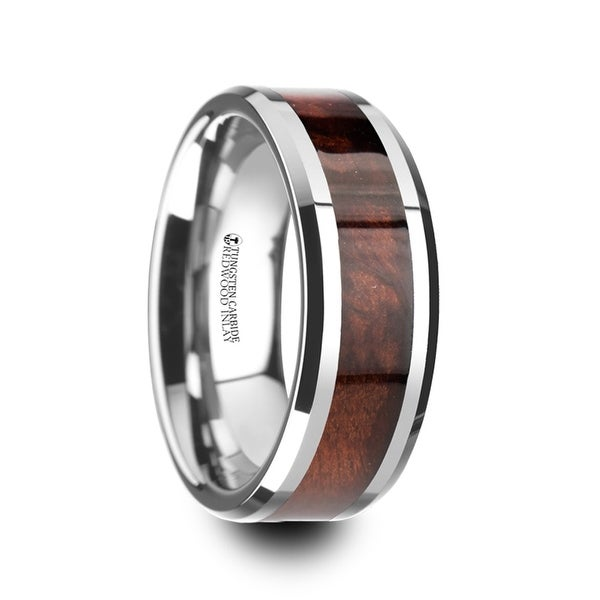 Auburn Red Wood Inlaid Tungsten Carbide Ring With Bevels