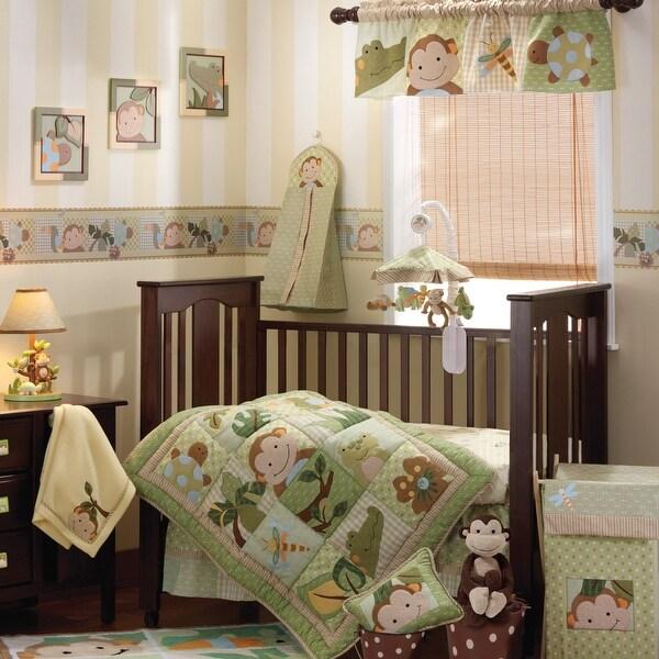Lambs & Ivy Papagayo Green/Beige/Brown Monkey, Frog, & Alligator Jungle Theme 6-Piece Baby Crib Bedding Set