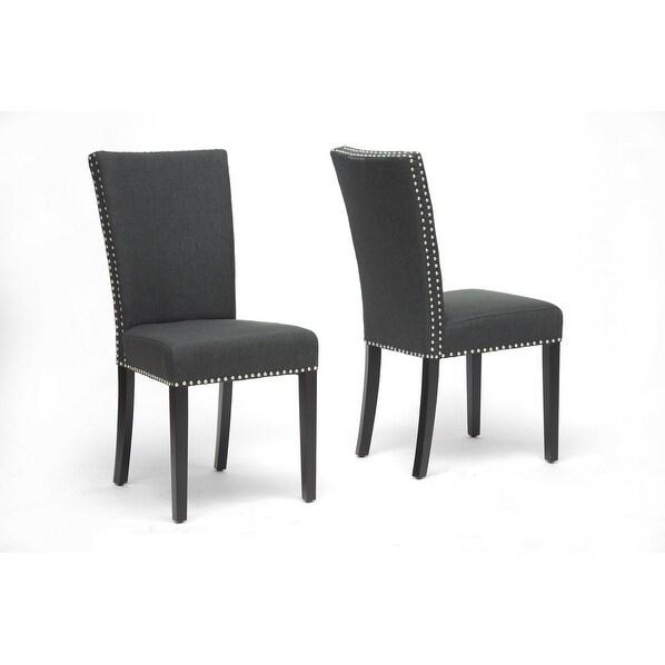 Harrowgate Dark Gray Linen Modern Dining Chair - 2pcs