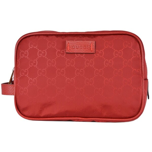 Gucci 510338 Red Nylon GG Guccissima Large Toiletry Cosmetic Dopp Bag