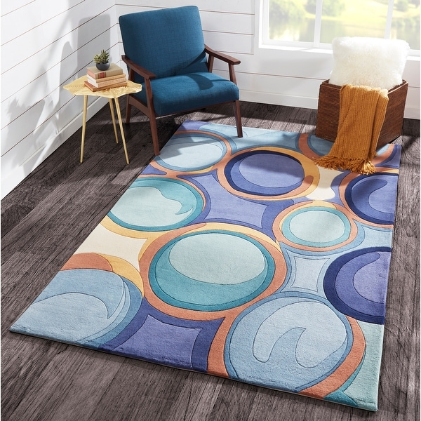 Momeni New Wave Blue Hand-Tufted and Hand-Carved Wool Rug (8' X 11') - 8' x 11'