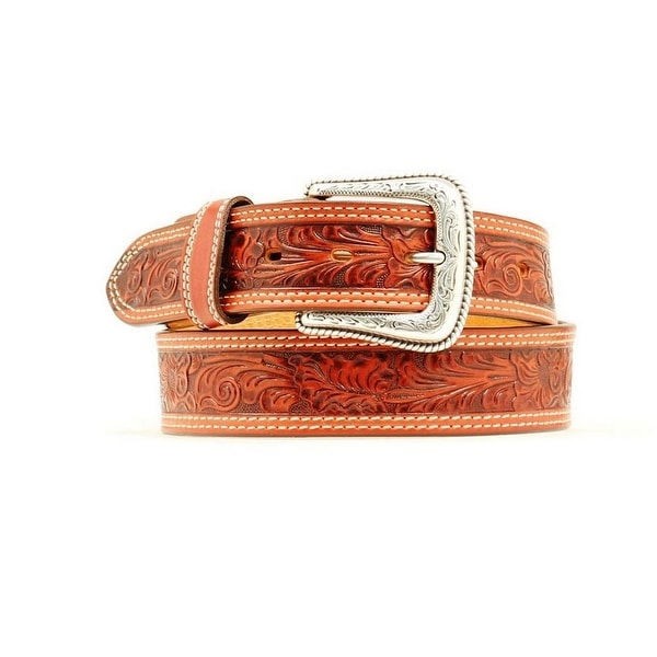 Nocona Western Belt Mens Leather Embossed Leaf Redwood