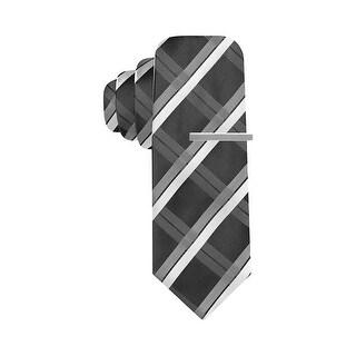 Alfani Hand Made Reversible Salsa Grid Plaid Skinny Tie Black and Grey