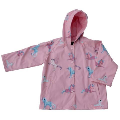 Foxfire Girls Pink Blue Unicorn Print Hooded Lined Raincoat