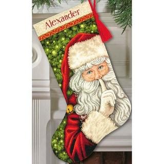 "Secret Santa Stocking Counted Cross Stitch Kit-16"" Long 18 Count"