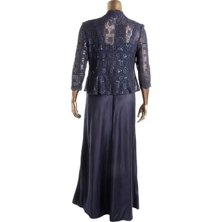 Alex Evenings Womens Sequined Lace Overlay Dress With Jacket