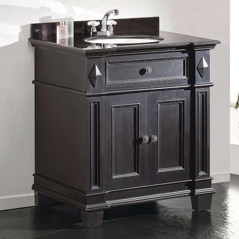 Single Sink Bathroom Vanity with Cabinet & Black Granite Countertop / Backsplash