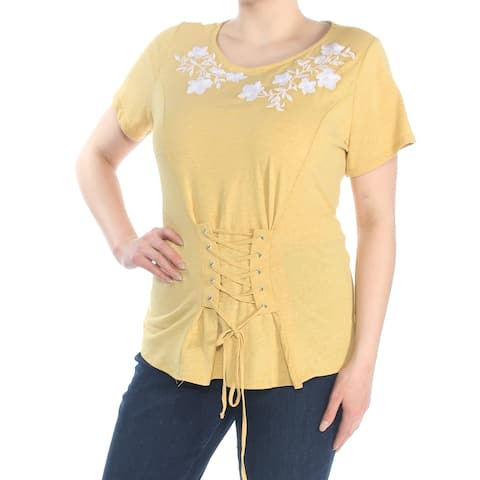 INC Womens Gold Embroidered Corsett Short Sleeve T-Shirt Top Size 1X