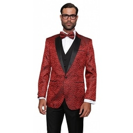 BELLAGIO Men's 3pc RED Suit, Modern Fit, 2 Button, 2 Side Vent, solid black Flat Front Pants