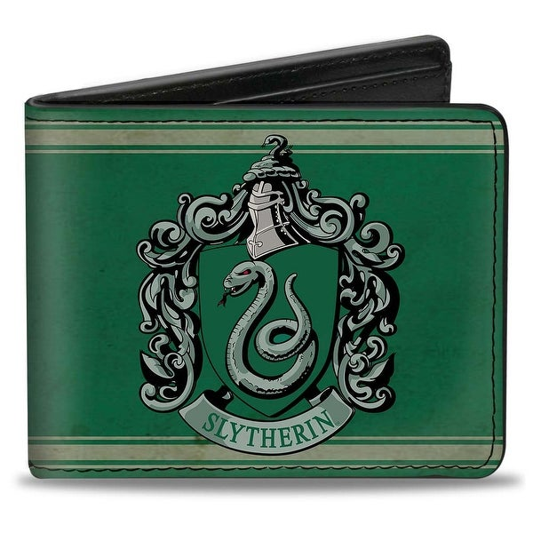 Slytherin Crest Stripe6 Weathered Greens Grays Bi Fold Wallet - One Size Fits most
