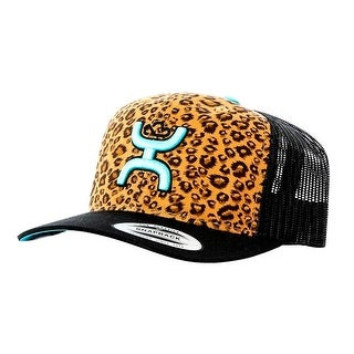 HOOey Hat Womens Trucker Hat Cheetah Print One Size Black 1509T