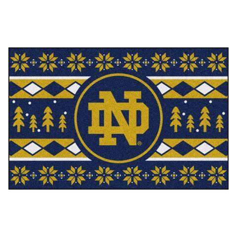 "Navy Blue and Yellow NCAA Notre Dame Fighting Irish Rectangular Sweater Starter Mat 30"" x 19"" - N/A"