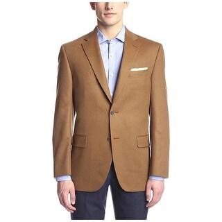 Bloomingdales Mens Regular Fit Cashmere Two Button Sportcoat 44 Long 44L Camel