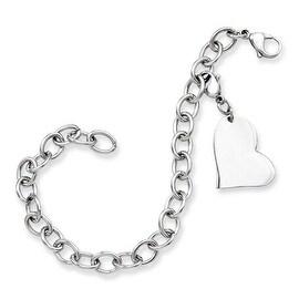 Stainless Steel Heart Charm 8in Bracelet