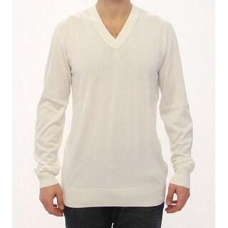 Dolce & Gabbana Dolce & Gabbana White Silk Logo V-neck Longarm Sweater Top