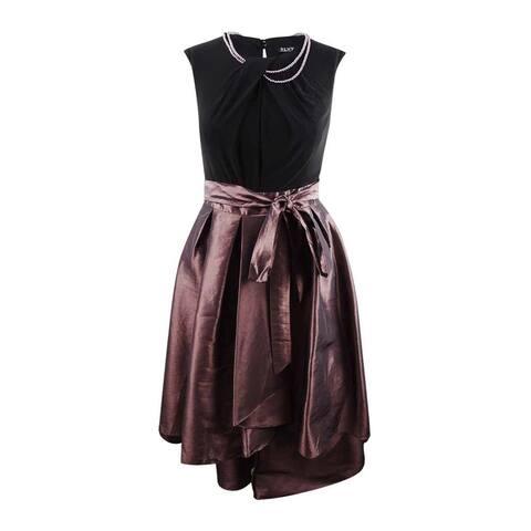 SL Fashions Women's Plus-Size Faux-Pearl-Embellished High-Low Dress