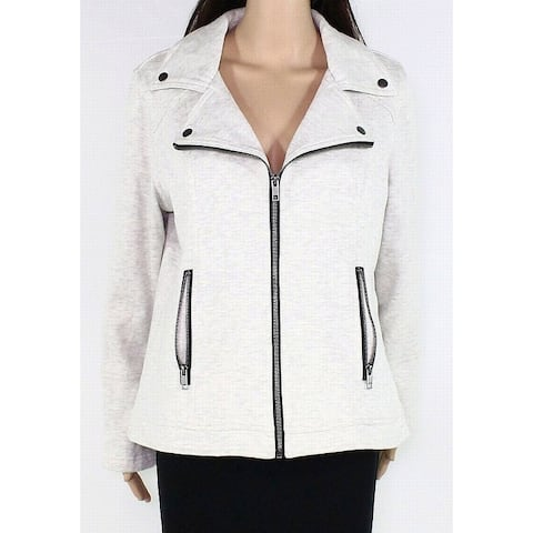 Style & Co Womens Moto Jacket Gray Size 4X Plus French Terry Full-Zip