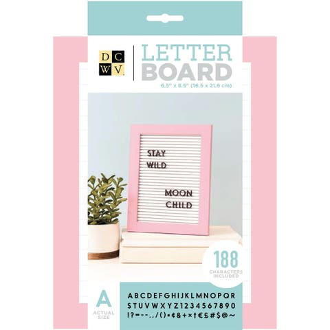 "Dcwv Standup Letterboard 5""X7""-White W/Pink Frame"