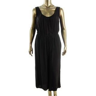 Soprano Womens Plus Gaucho Pleated Jumpsuit