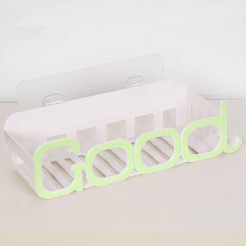 Plastic Suction Wall Corner Rack Bin Water Resistant Good Word Shape