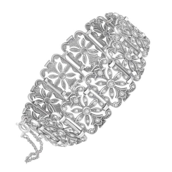 Van Kempen Victorian Link Bracelet with Swarovski Crystals in Sterling Silver