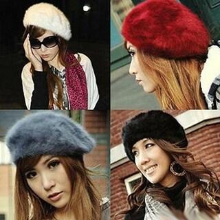 Fashion Women Sweet Warm Faux Rabbit Fur Beret Artist Baggy Beanie Winter Hat