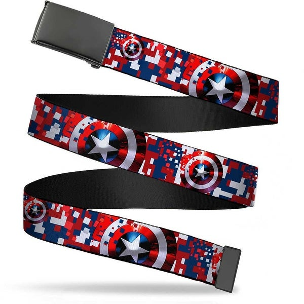 Marvel Avengers Blank Black Buckle Captain America Shield Digital Web Belt