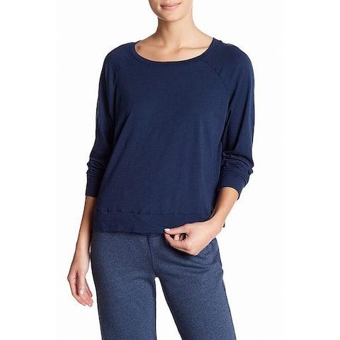 Allen Allen Womens Knit Top Blue Size Medium M Raglan Sleeve Pullover