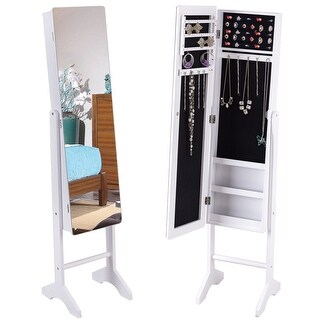 Gymax White Mirrored Jewelry Cabinet Armoire Storage Organizer Box Ring