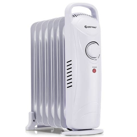 Costway 700W Portable Electric Oil Filled Radiator Heater 7-Fin Safety Shut-Off 15''
