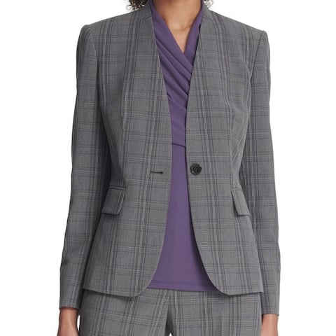 DKNY Womens Bazer Purple Gray Size 14 Collarless Plaid One-Button