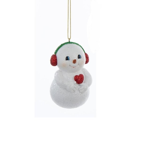 "3.75"" Decorative Chubby Snowman in Red Ear Muffs Hanging Christmas Ornament - WHITE"