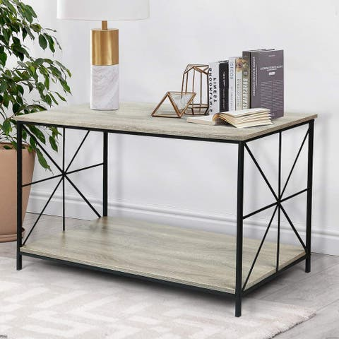 Carbon Loft Deane Wood Top Shelf with Sturdy Metal Frame