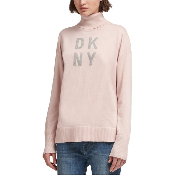 DKNY Womens Logo Pullover Sweater, Pink, Large. Opens flyout.