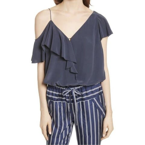 Joie Women's Blouse Top Blue Size XS Ruffled Chiffon Draped Silk