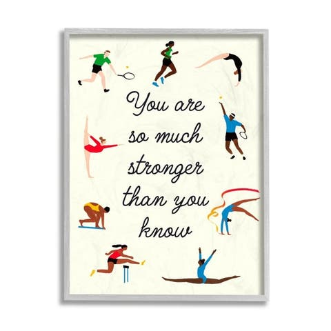 Stupell Industries Stronger Than You Know Phrase Summer Athletes Framed Wall Art