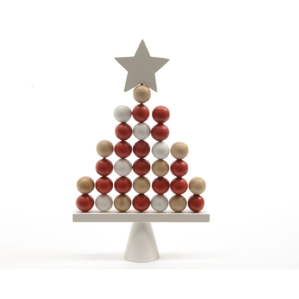 "12.5"" Alpine Chic Red, White and Brown Pinewood Ball Christmas Tree Table Top Decoration"