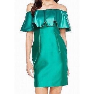 Adrianna Papell Green Womens Size 2 Satin Ruffled Sheath Dress